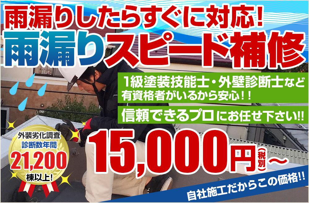 雨漏りしたらすぐに対応!雨漏りスピード補修 ○○円から!